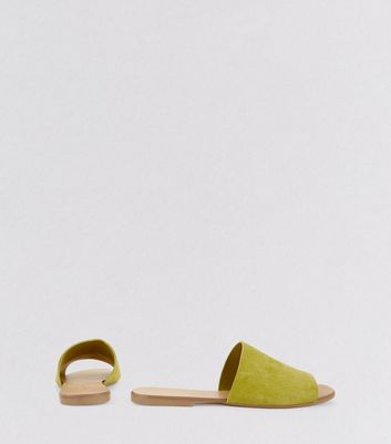 Wide Fit Lime Green Suede Mules New Look