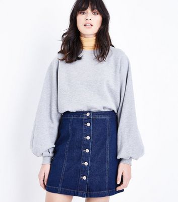 Blue Rinse Wash Denim Button Front A-Line Skirt New Look