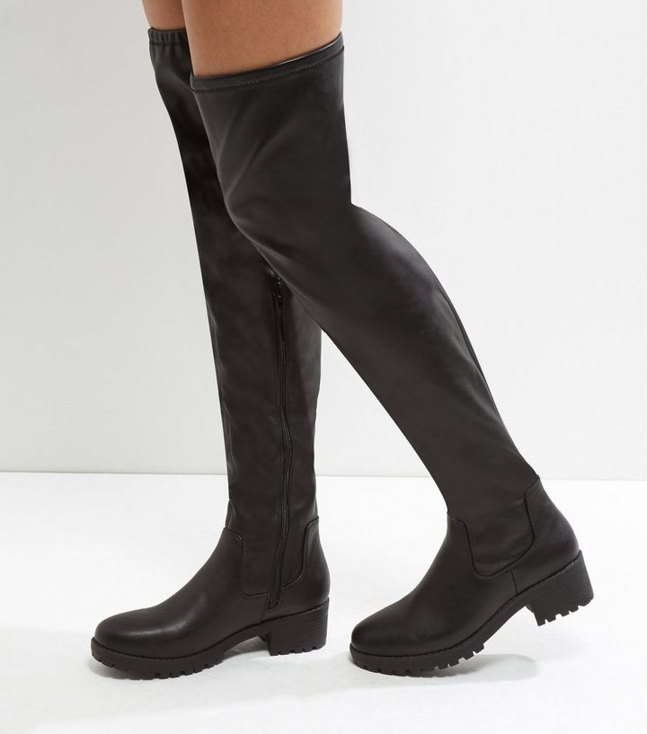 b44439a6176 Black Chunky Cleated Sole Over The Knee Boots