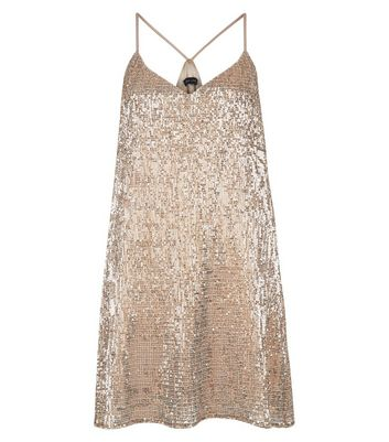 Gold Strappy Sequin Slip Dress New Look