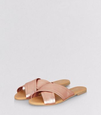 Rose Gold Leather Cross Strap Mules New Look