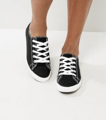 Black Lace Up Trainers New Look