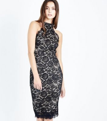 AX Paris Black Lace High Neck Bodycon Dress
