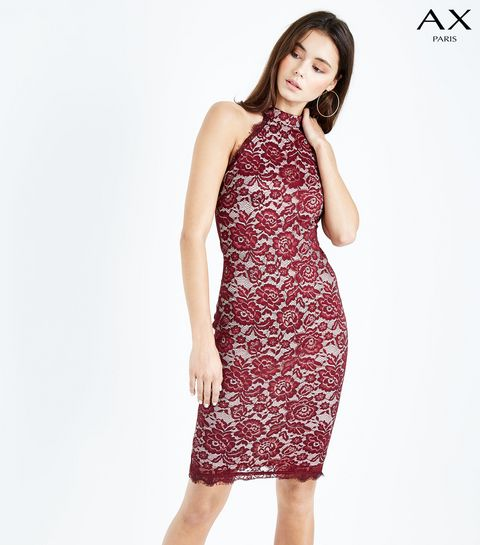 75e2cff42b727 ... AX Paris Red Lace High Neck Bodycon Dress ...