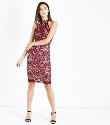 AX Paris Red Lace High Neck Bodycon Dress New Look