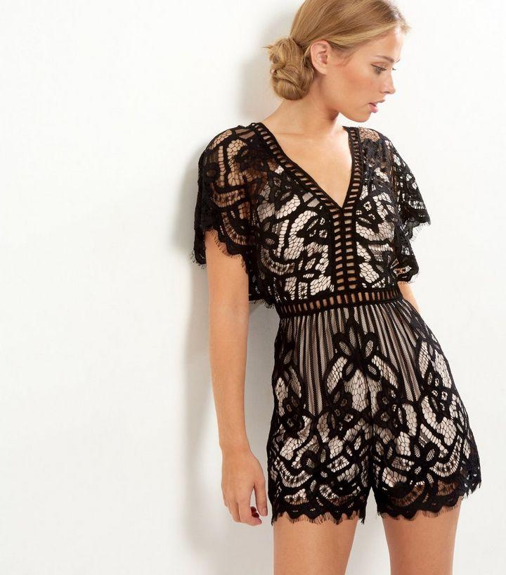 6e54e5aece5 Parisian Black Lace Overlay Playsuit