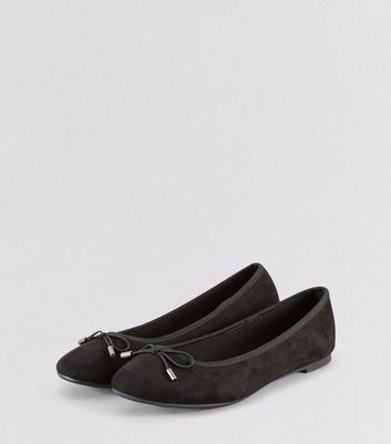 Black Suedette Bow Ballet Pumps