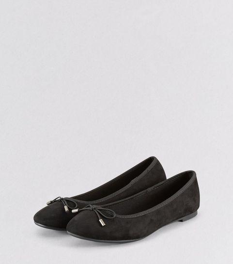 dcfafc7a1cb ... Black Suedette Bow Ballet Pumps ...