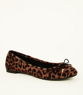 Brown Leopard Print Bow Ballet Pumps