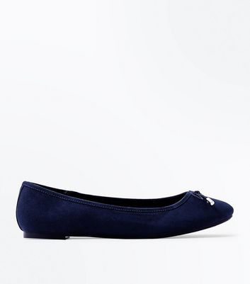 Navy Suedette Ballet Pumps New Look