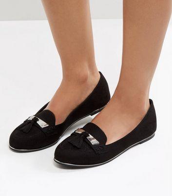 Black Suedette Metal Trim Tassel Front Loafers New Look