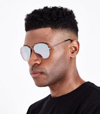Silver Pilot Sunglasses New Look