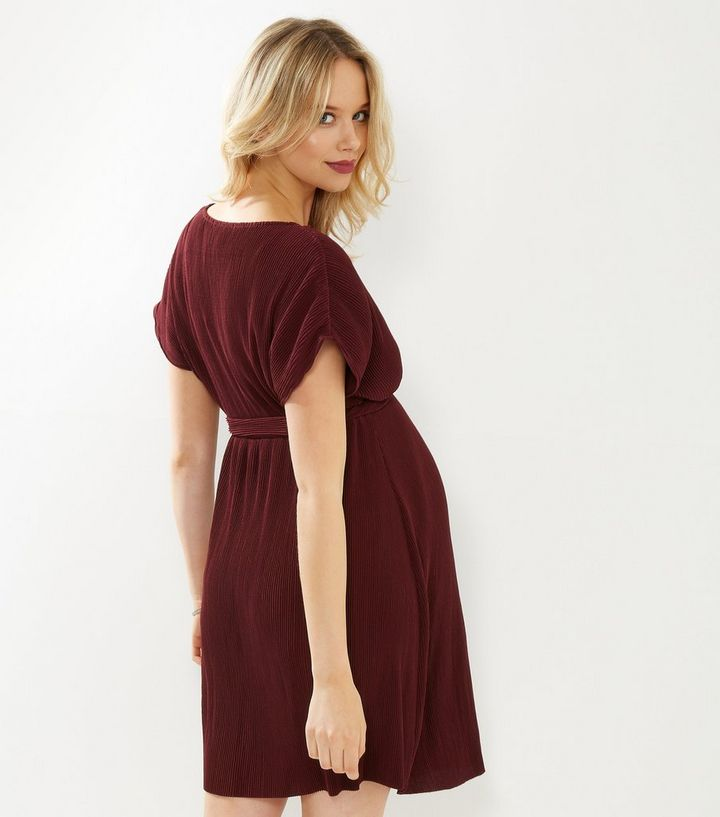 691c31ada6b ... Maternity Burgundy Pleated Wrap Front Dress. ×. ×. ×. Shop the look