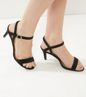 Black Suedette Low Heeled Sandals New Look