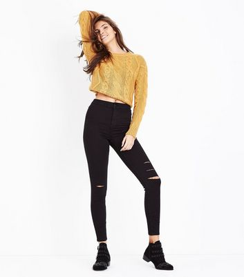 Black Super High Waist Super Skinny Ripped Knee Hallie Jeans