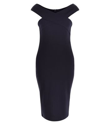 AX Paris Navy Cross Front Midi Dress New Look