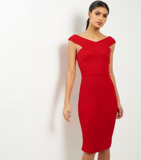 2f363ed2957 ... AX Paris Red Cross Front Midi Dress ...