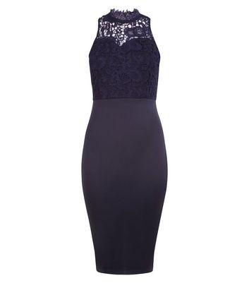 AX Paris Navy Lace Neck Midi Dress New Look