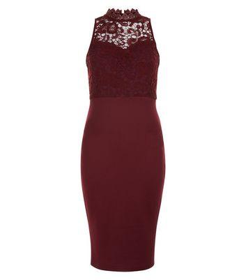 AX Paris Dark Purple Lace Bodice Midi Dress New Look