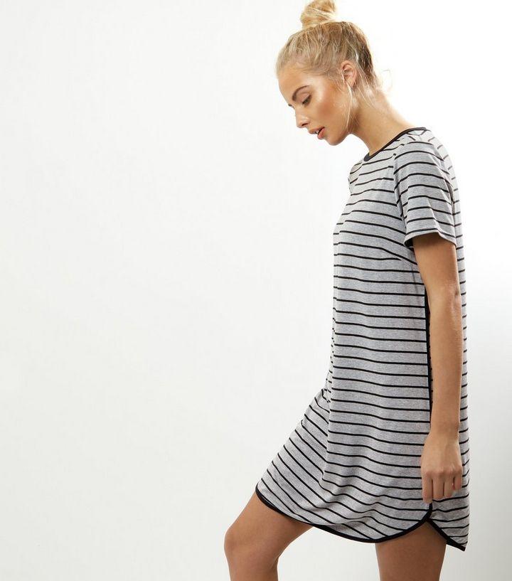 b6621d1fb8b ... Robe t-shirt gris clair à rayures et bordure contrastée. ×. ×. ×.  Shopper le look
