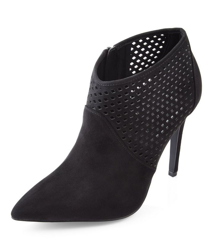 21c830d241dc ... Wide Fit Black Suedette Laser Cut Out Shoe Boots. ×. ×. ×. VIDEO Shop  the look