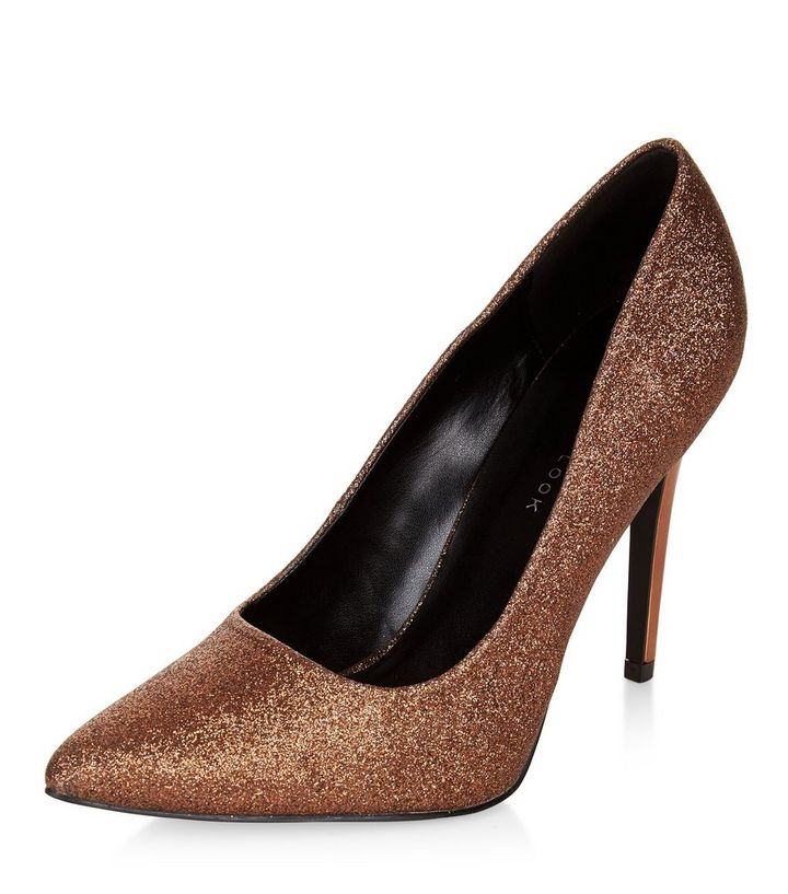 48728d6ac10fd9 Wide Fit Bronze Glitter Pointed Court Shoes | New Look