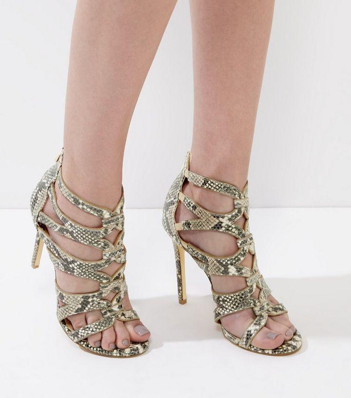 553682fae472 Cream Snakeskin Strappy Heeled Sandals