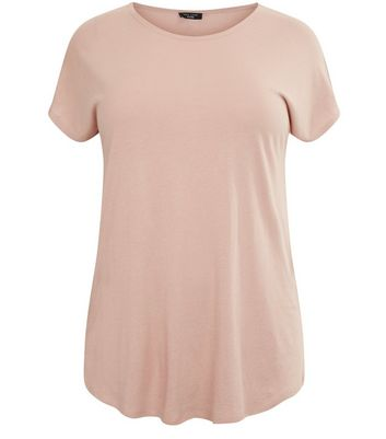 Curves Pink Split Side T-Shirt New Look
