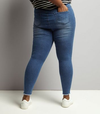 Curves Blue Ripped Skinny Jeans New Look