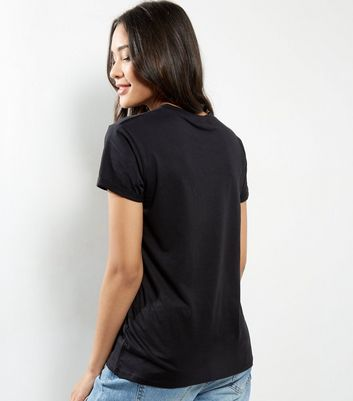 Petite Black Oversized T-Shirt New Look