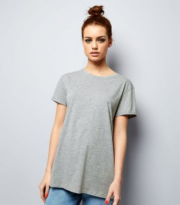 Petite Grey Boyfriend T-shirt New Look