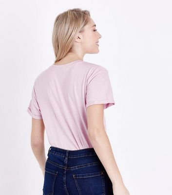 Petite Shell Pink Oversized T-Shirt New Look