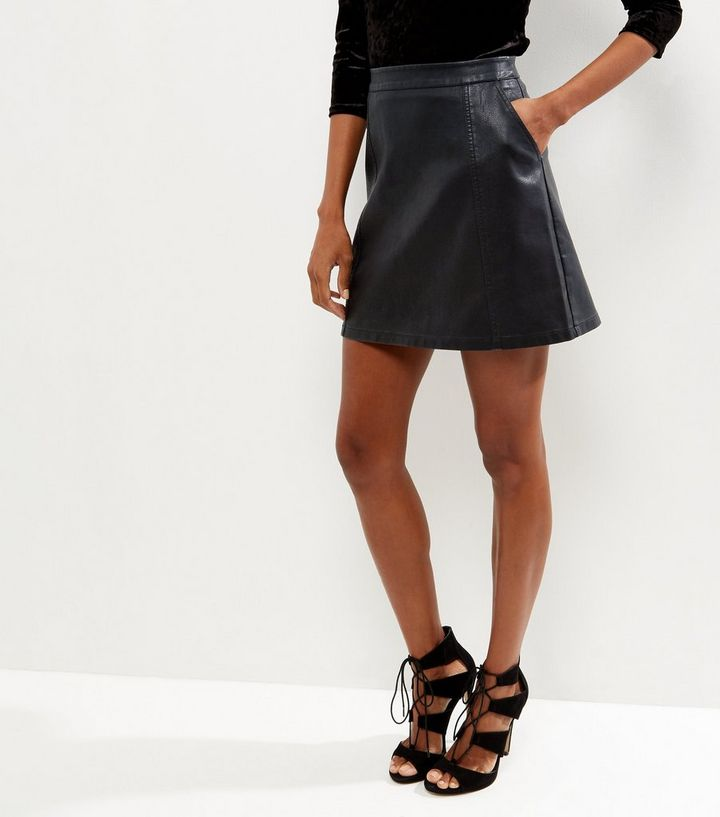 59ed1fd9f Black Leather-Look Double Pocket Mini Skirt Add to Saved Items Remove from  Saved Items