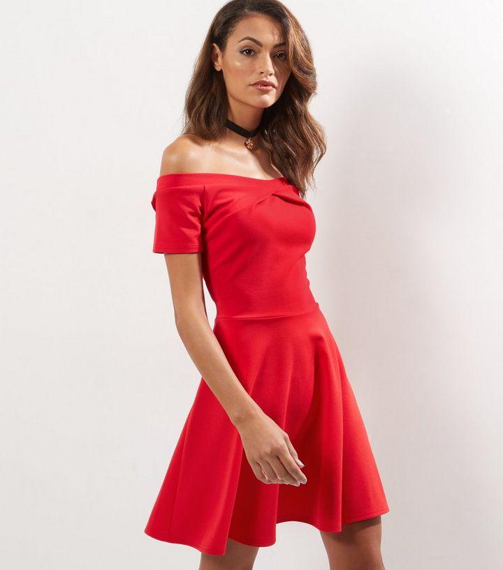 d0fb743289 Cameo Rose Red Wrap Front Bardot Neck Skater Dress