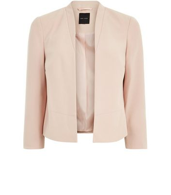 Shell Pink Cropped Smart Jacket New Look