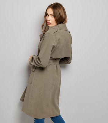 Khaki Soft Belted Military Trench Coat New Look