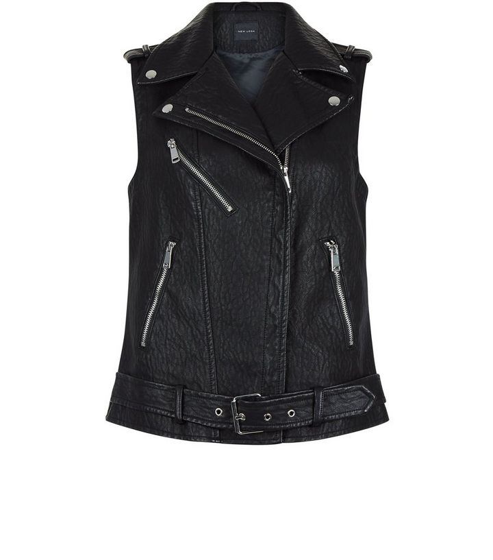 hot-selling real various styles hot-selling official Black Leather-Look Sleeveless Biker Jacket Add to Saved Items Remove from  Saved Items