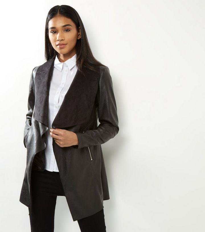 Black Leather-Look Longline Waterfall Jacket  2952dd81d