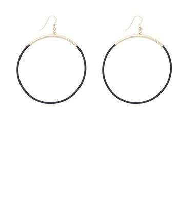 Gold Matte Large Hoop Earrings New Look