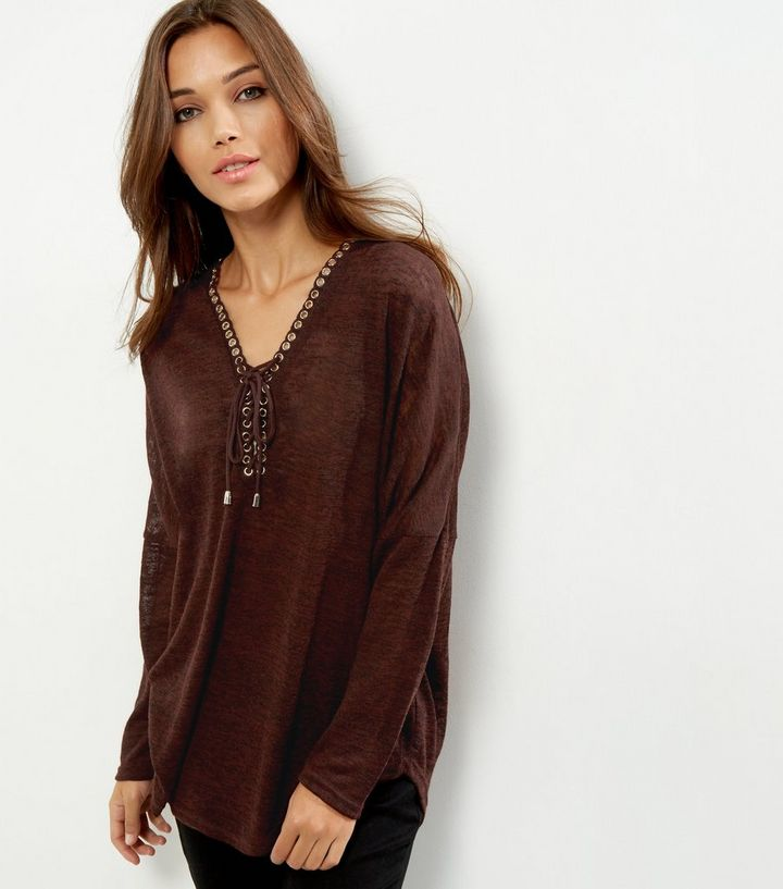 Apricot Burgundy Lace Up Long Sleeve Top  b0b05e93c