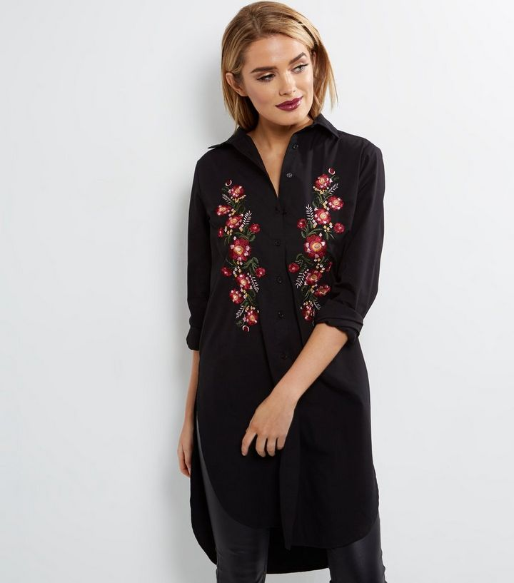 4844a5ab7f9 Black Floral Embroidered Shirt Dress
