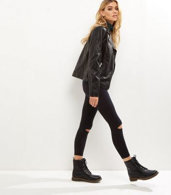 Black Ripped Knee Leggings New Look
