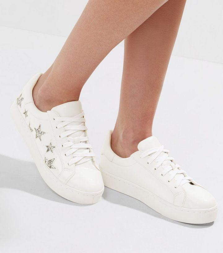 White Glitter Star Trainers  5030cdd73f1