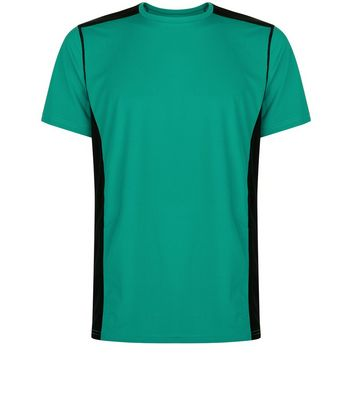 Green Panelled Running T-Shirt New Look
