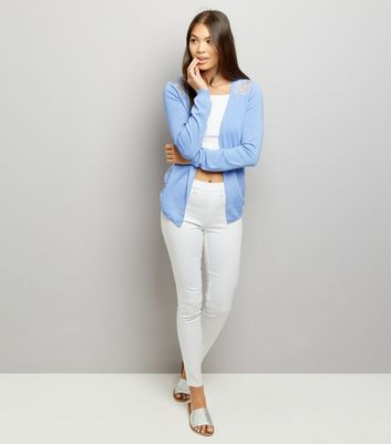 Blue Lace Back Cardigan New Look