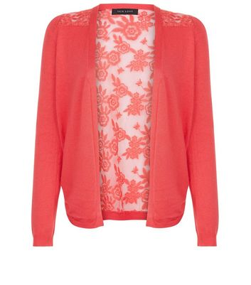 Bright Pink Lace Back Cardigan New Look