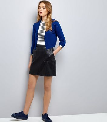 Blue 3/4 Sleeve Cropped Cardigan New Look