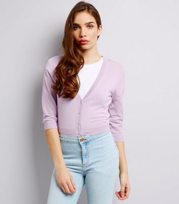 Mid Lilac 3/4 Sleeve Cropped Cardigan New Look