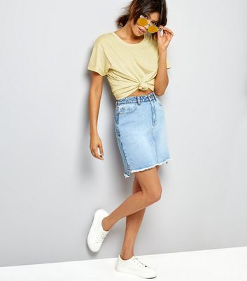 Yellow Roll Sleeve Boyfriend T-Shirt New Look