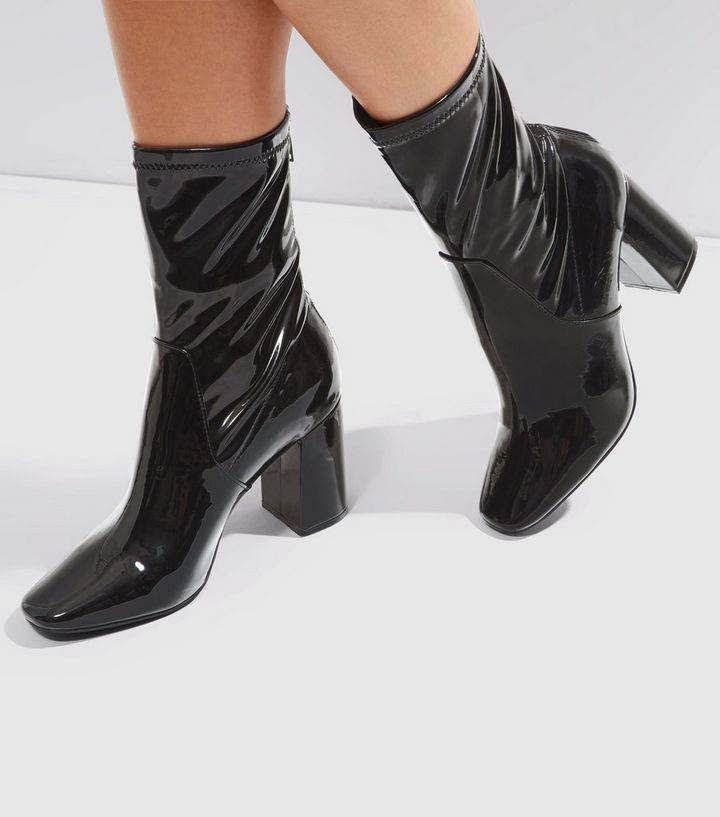 ca3fcd6b4811 Black Patent High Ankle Boots